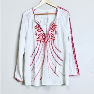 Sundance Embroidered Long Sleeve Top Size XL, NWOT